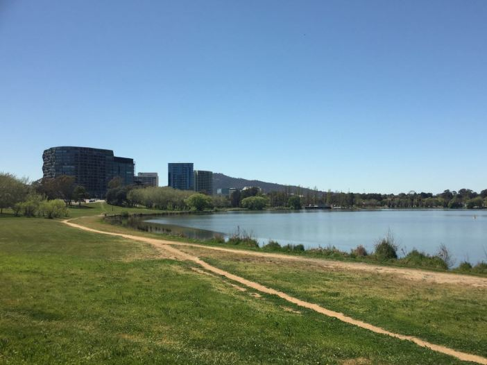 The running/cycling trail along Lake Burley Griffin in Canberra.