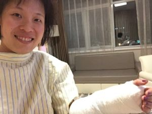 A post-op selfie taken at Oasis Hospital